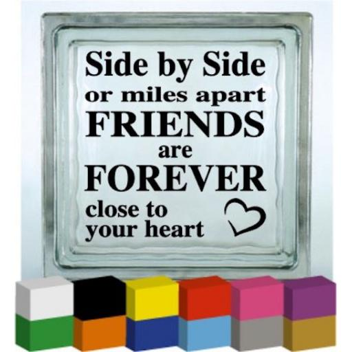 Side by Side or miles apart Vinyl Glass Block / Photo Frame Decal / Sticker / Graphic