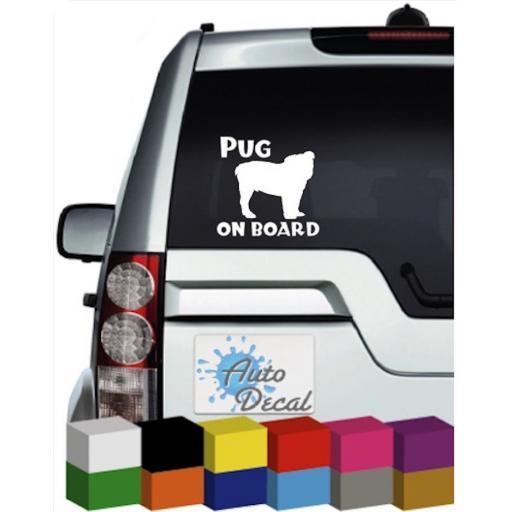 Pug On Board Vinyl Window Car Bumper, Decal / Sticker / Graphic