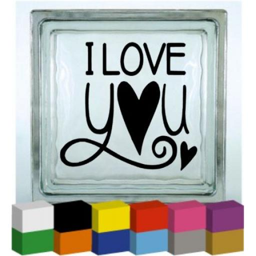I Love You Vinyl Glass Block / Photo Frame Decal / Sticker / Graphic
