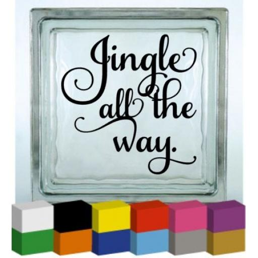 Jingle all the Way V2 Christmas Vinyl Glass Block Decal / Sticker