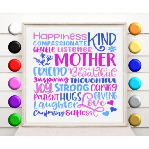Mother Words Vinyl Glass Block / Photo Frame Decal / Sticker / Graphic
