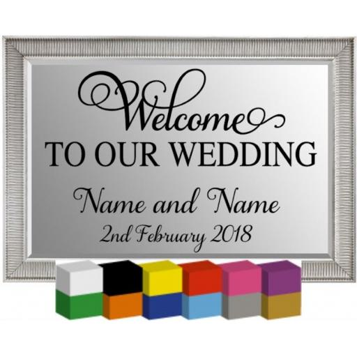 Welcome to our Wedding Personalised Plaque / Mirror / Decal / Sticker/ Graphic