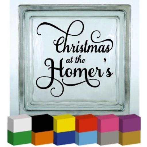 Christmas at the Personalised with surname Vinyl Glass Block Decal / Sticker / Graphic