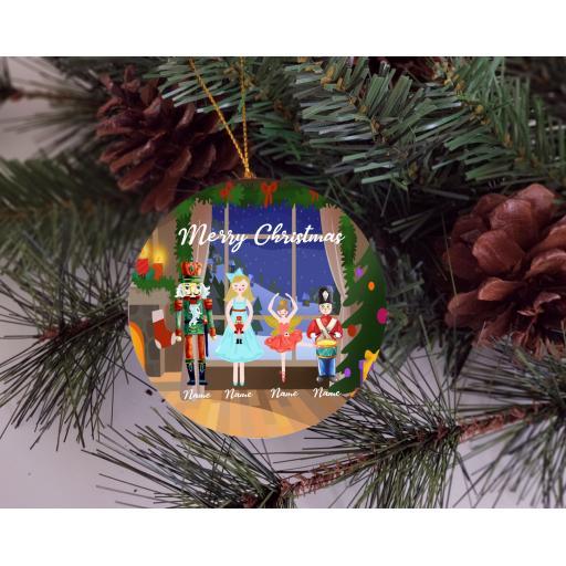 Merry Christmas Nutcracker Family Ceramic Christmas Ornament / Bauble
