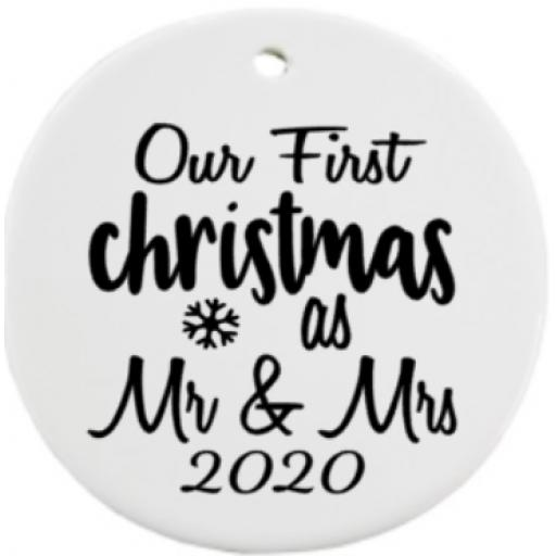 Our First Christmas as Mr & Mrs 2020 Bauble Decal / Sticker/ Graphic
