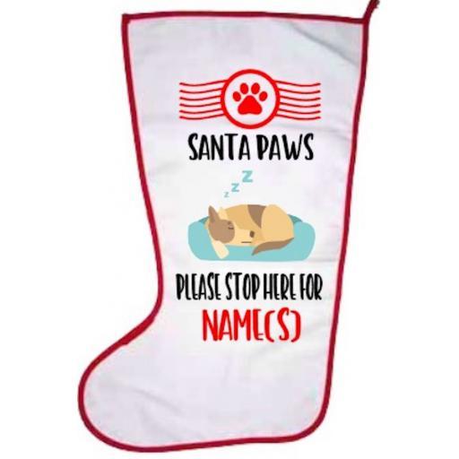 Santa Paws Dog Personalised Stocking