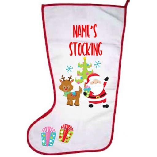 Santa Reindeer Personalised Stocking