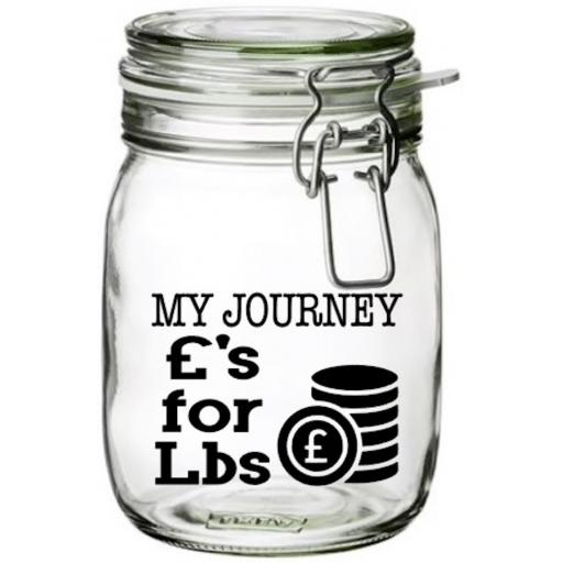 My Journey £'s for Lb's Jar Decal / Sticker / Graphic