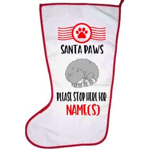 Santa Paws Cat Personalised Stocking