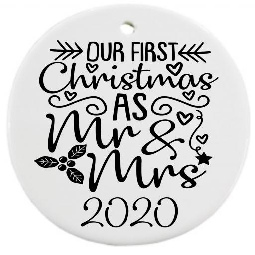 Our First Christmas as Mr & Mrs 2020 V2 Bauble Sticker / Decal / Graphic