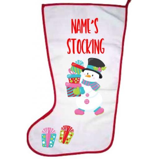 Snowman Personalised Stocking