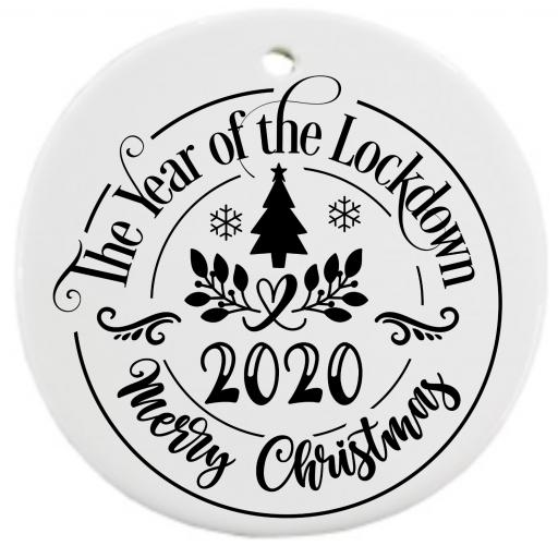 The Year of the Lockdown 2020 Merry Christmas Bauble Sticker / Decal / Graphic