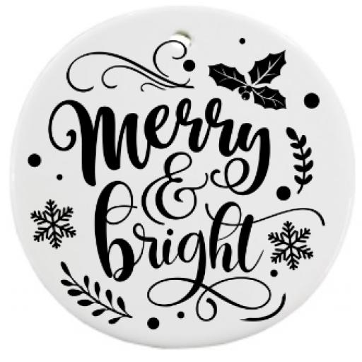 Merry & Bright Bauble Sticker / Decal / Graphic