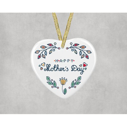 Happy Mother's Day Ceramic Heart Ornament