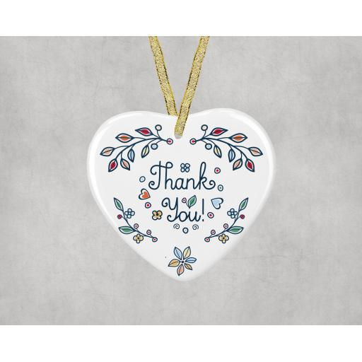 Thank You Ceramic Heart Ornament