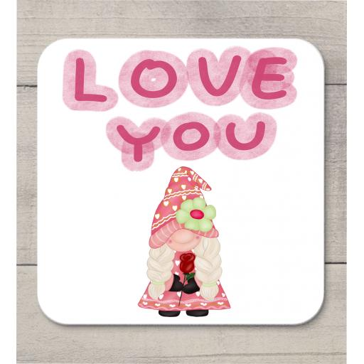 Love You Female Gnome Coaster