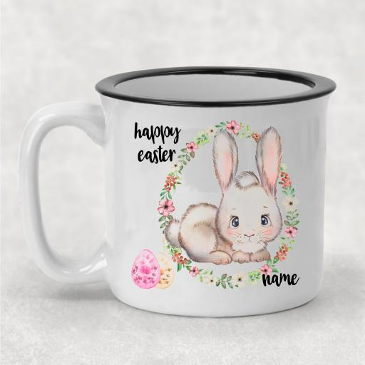 Happy Easter Lying Down Rabbit Personalised Ceramic Camper Mug