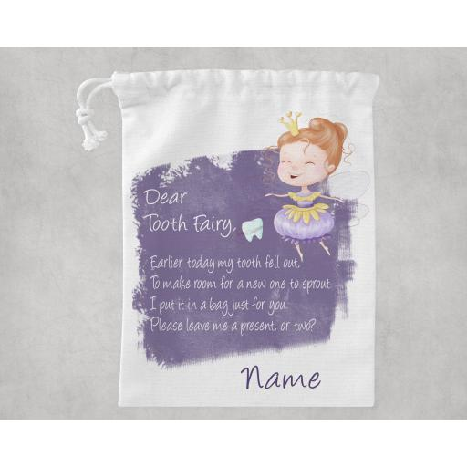 Dear Tooth Fairy White Drawstring Bag Personalised