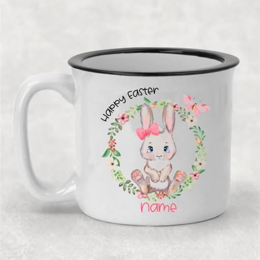 Happy Easter Sitting Rabbit Personalised Ceramic Camper Mug