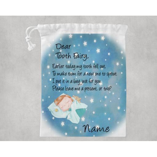 Dear Tooth Fairy Sleeping Girl / Boy White Drawstring Bag Personalised