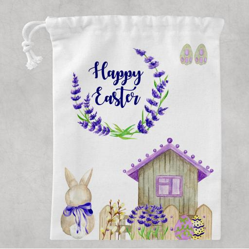 Happy Easter White Drawstring Bag