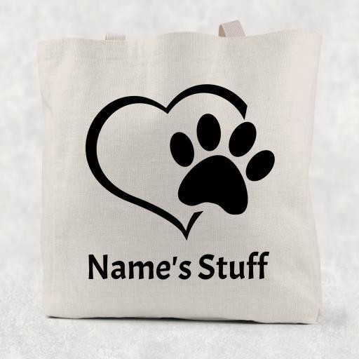 Paw Print Bag Personalised