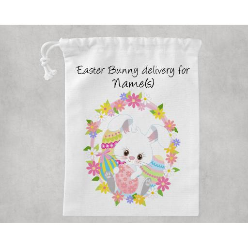 Easter Bunny Delivery For Personalised White Drawstring Bag