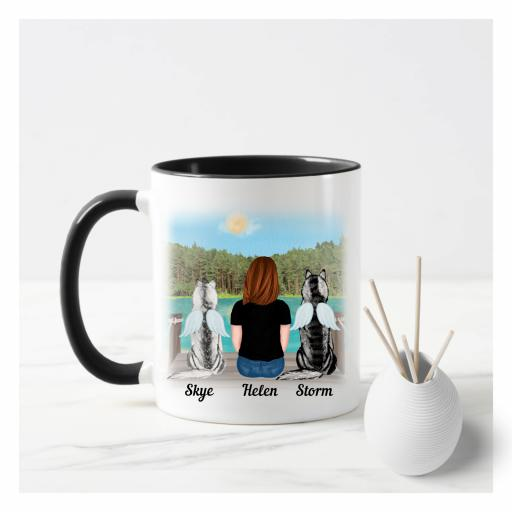 Personalised Girl and Dog(s) Mug Memorial
