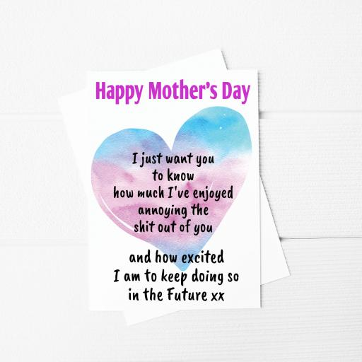 I just want you to know Funny Mothers Day A5 Card & Envelope