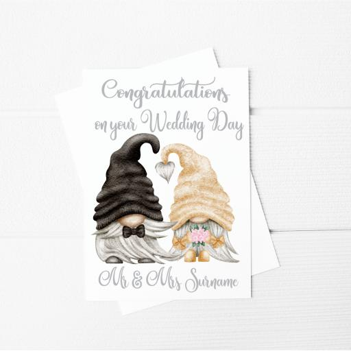 Congratulations on your Wedding Day Gnome Personalised A5 Card & Envelope