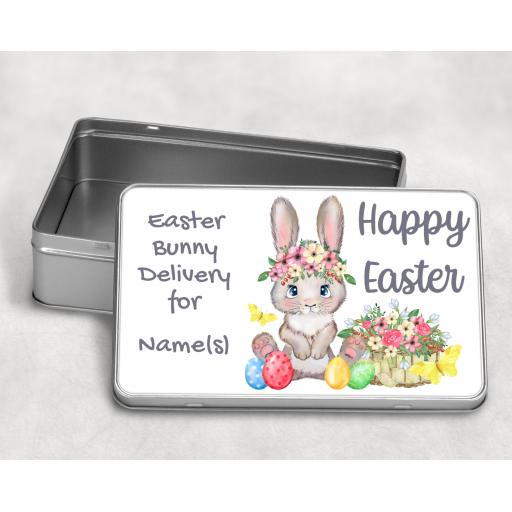 Happy Easter Easter Bunny Delivery for Personalised Metal Tin