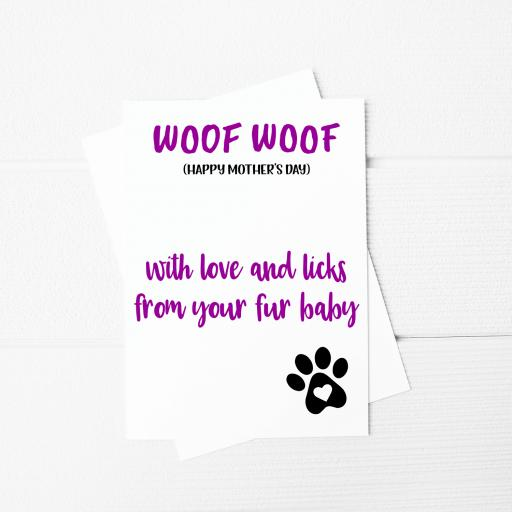 Woof Woof Happy Mothers Day Funny Mothers Day A5 Card & Envelope