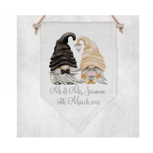 Mr & Mrs Surname and date Personalised Flag / Pennant