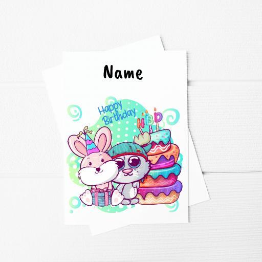 Happy Birthday Kitten & Rabbit A5 Card & Envelope