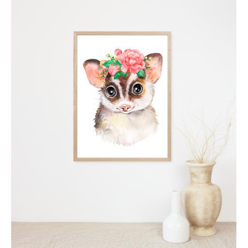 Flying Squirrel Flower Print