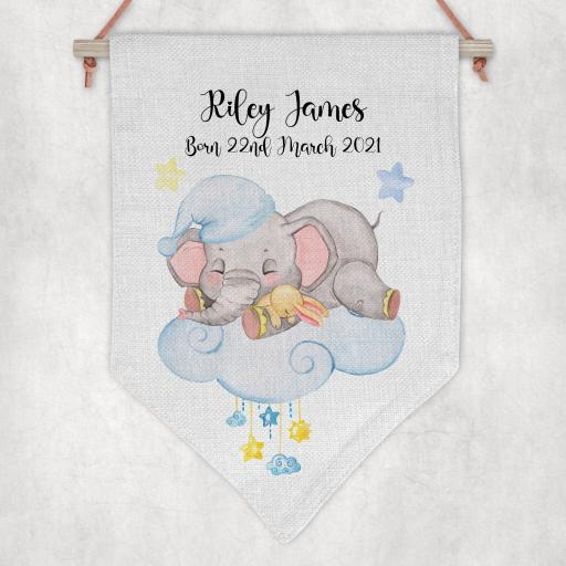 Baby Birth Elephant on Cloud Personalised Flag / Pennant