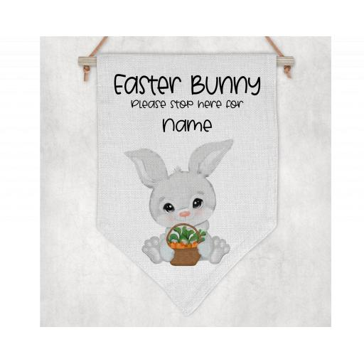 Easter Bunny Please Stop Here Personalised Flag / Pennant