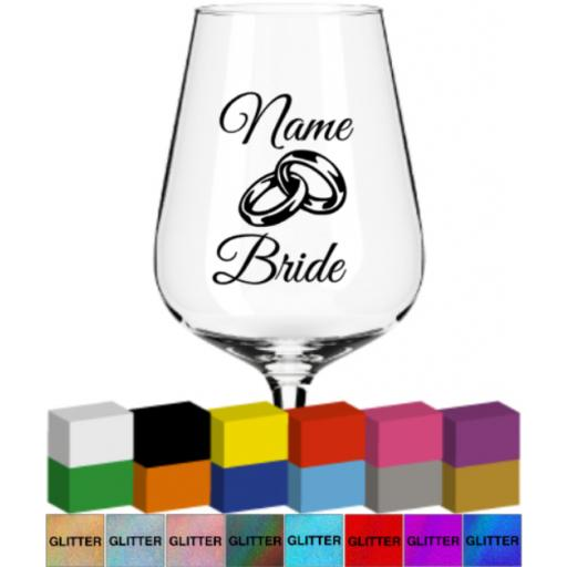 Name and Role with Rings Wedding Glass / Mug Decal / Sticker / Graphic