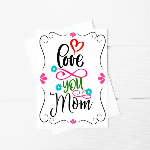 Love You Mom A5 Card & Envelope