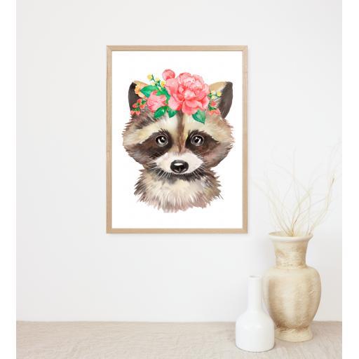 Racoon Flower Print