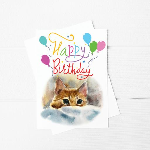 Happy Birthday Ginger Cat A5 Card & Envelope