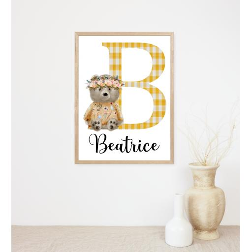 Sitting Bear Initial and Name Personalised Print