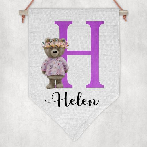 Standing Bear Inital and Name Personalised Flag / Pennant