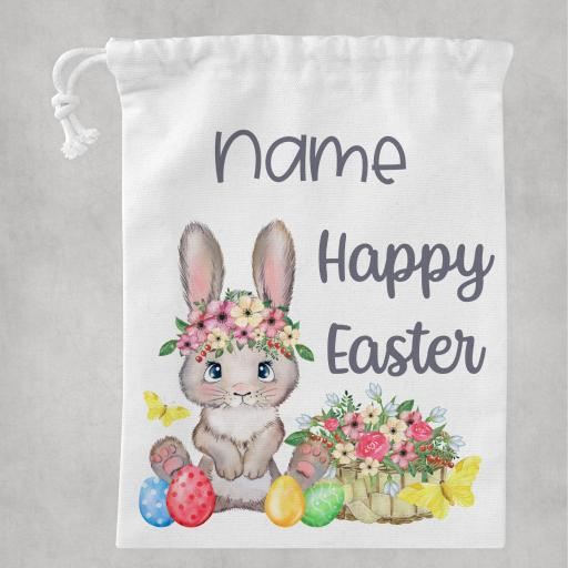 Happy Easter with Bunny White Drawstring Bag