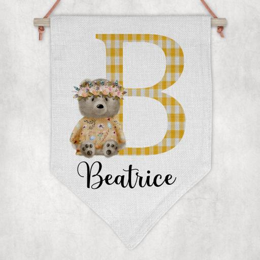 Sitting Bear Inital and Name Personalised Flag / Pennant