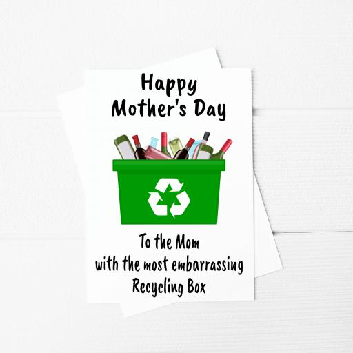To the Mum with the most embarrassing Recycling Box Funny Mothers Day A5 Card & Envelope