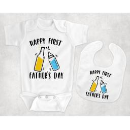 happy first fathers day BabyBodysuitandBib.png