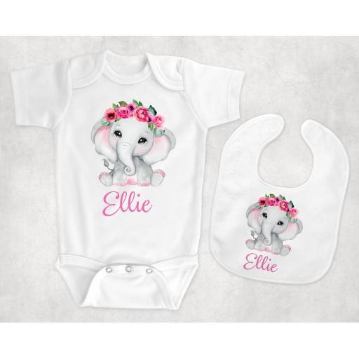 Pink Elephant Personalised Baby Clothing
