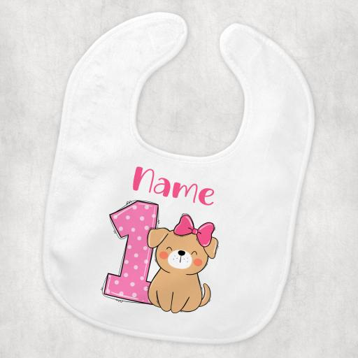 birthday 1 dog design girl bib.png