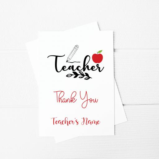 Teacher Thank You Personalised A5 Card & Envelope
